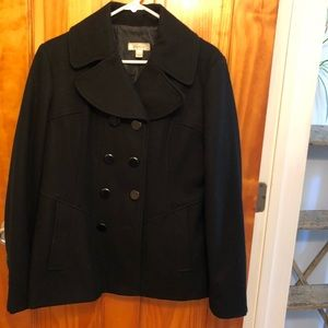 Wool jacket, black, double breasted buttons